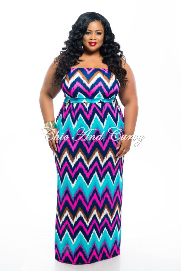 New Plus Size Tube Maxi Dress in Turquoise and Pink Zig Zag Print
