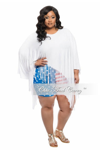 Final Sale Plus Size BodyCon w/ Sweetheart Neckline in Stars and Stripes (Seasonal Items, Final Sale)