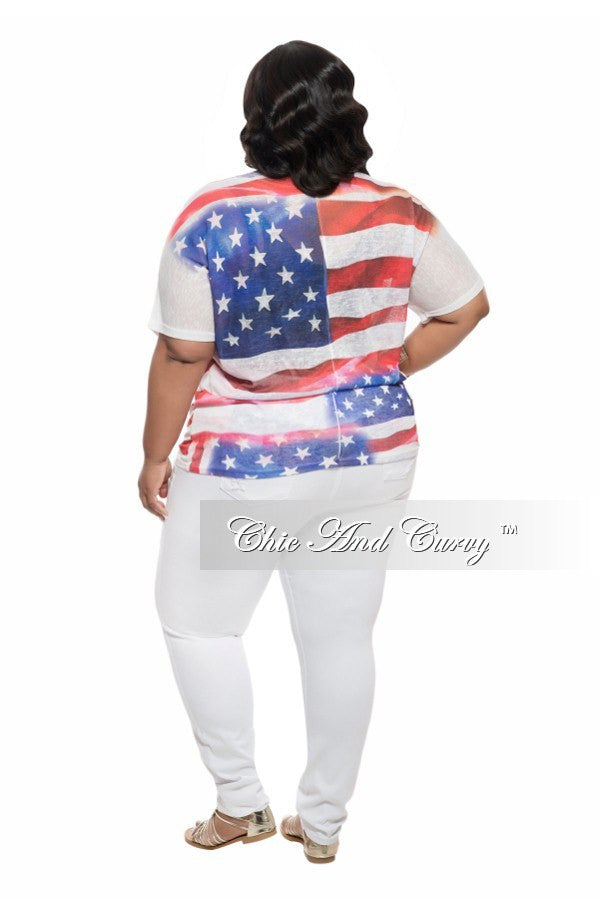 Final Sale Plus Size Shirt with Short Sleeves in Flag Print
