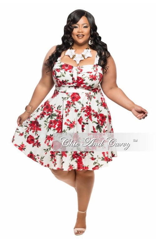 Final Sale Plus Size Skater Dress with Tie in White  with Red and Green Floral Print