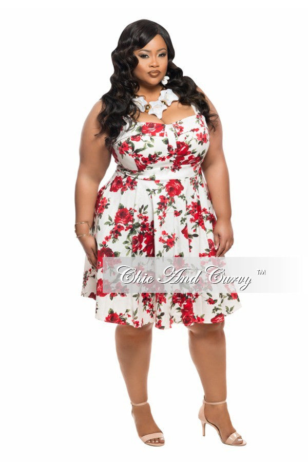 final sale plus size skater dress with tie in white with red and