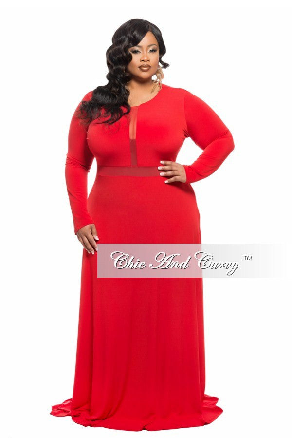 New Plus Size Gown with Mesh Cutouts in Red
