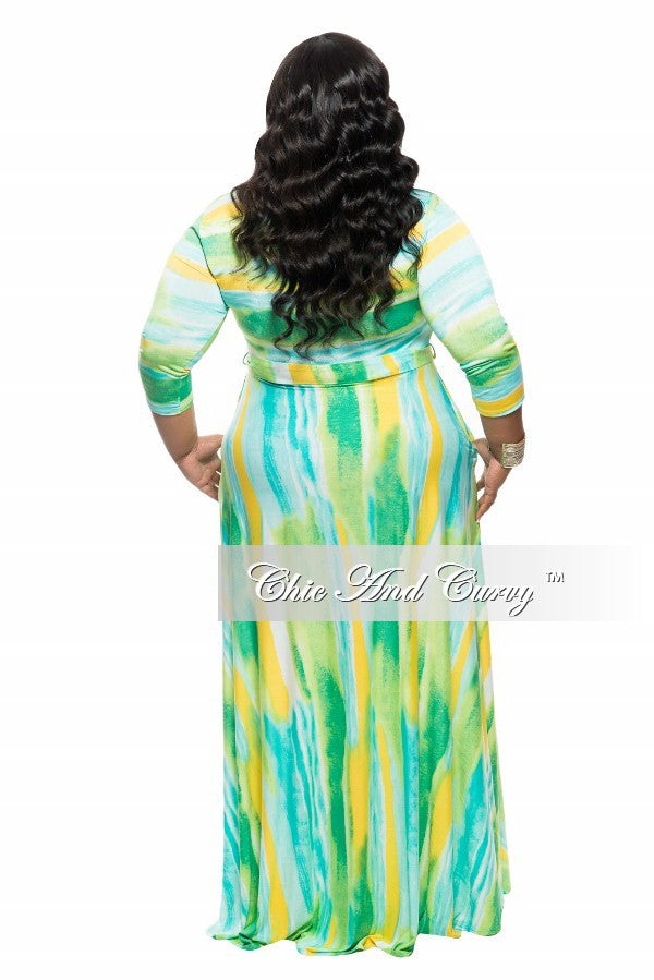 New Plus Size Long Dress with 3/4 Sleeve, Side Pockets, and Tie in Yellow and Green Print