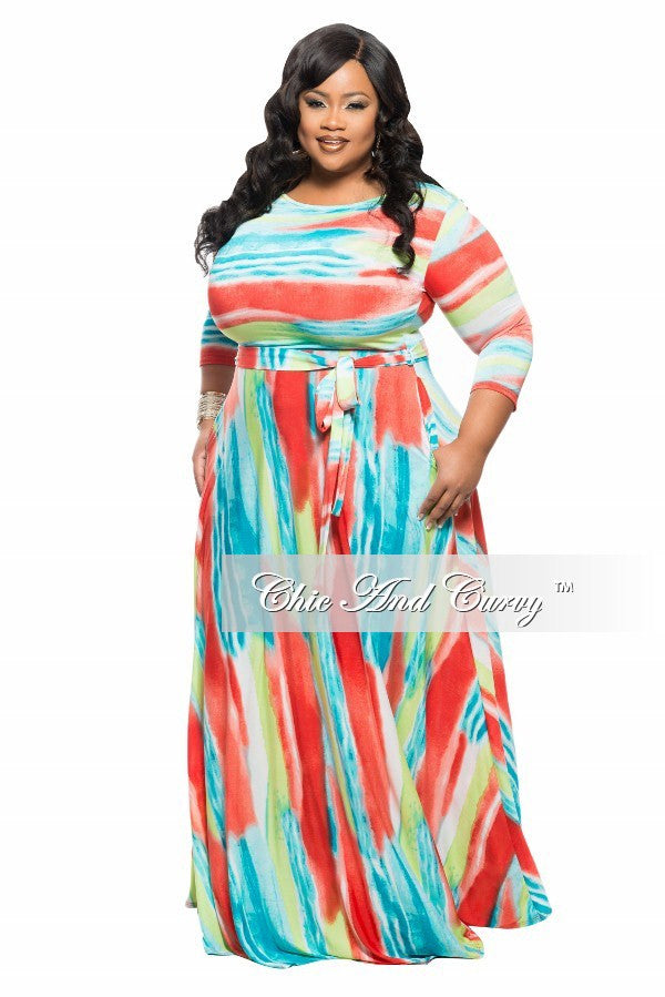 New Plus Size Long Dress with 3/4 Sleeve, Side Pockets, and Tie in Orange, Blue and Green Print