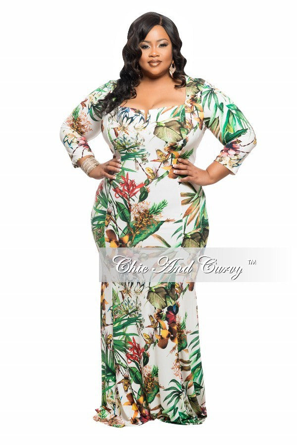 New Plus Size BodyCon Long Dress with Cutout Neckline in Ivory and Green Floral Print
