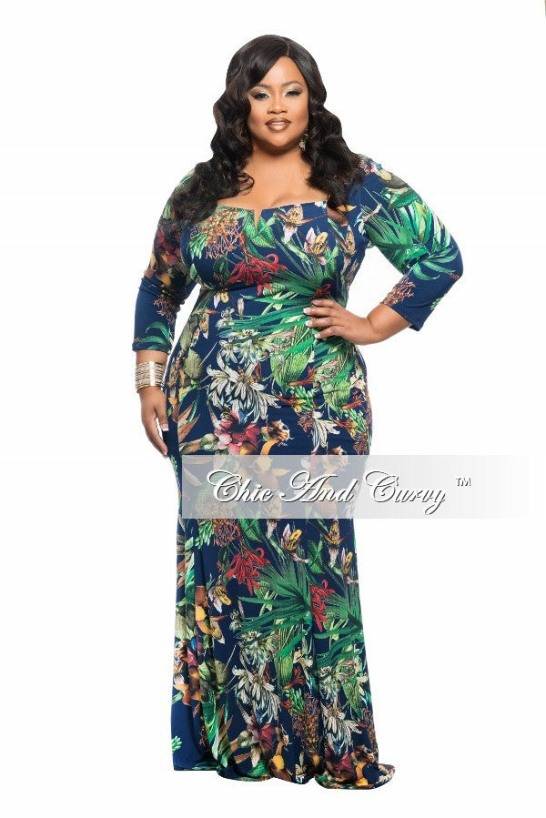 New Plus Size BodyCon Long Dress with Cutout Neckline in Blue and Green Floral Print