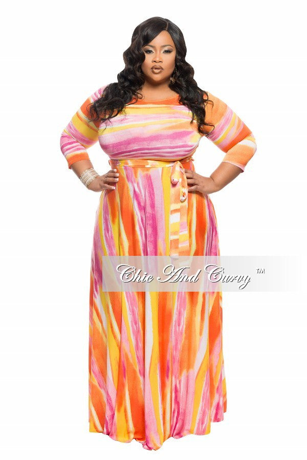 Final Sale Plus Size Long Dress with 3/4 Sleeve, Side Pockets, and Tie in Yellow, Pink and Orange Print