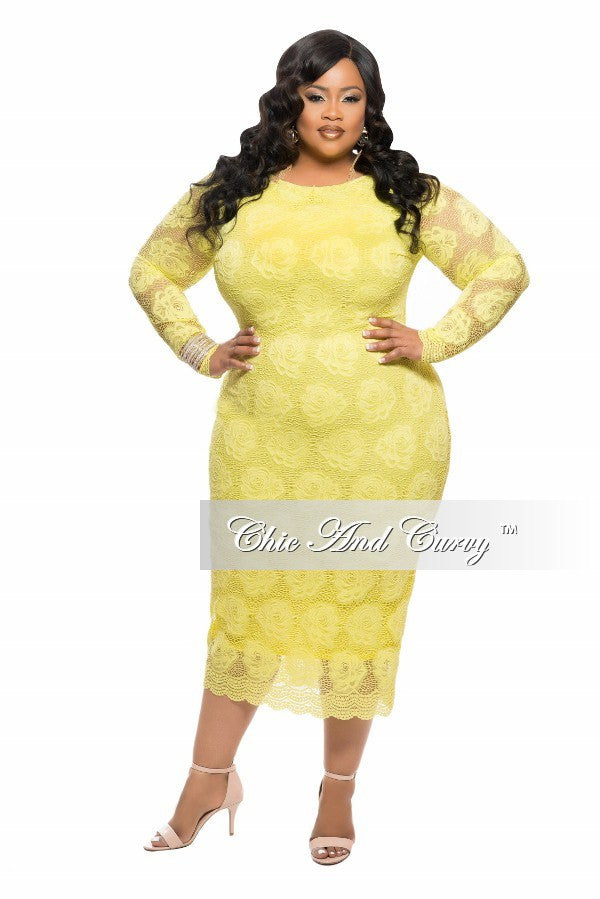 New Plus Size BodyCon Lace Floral Dress in Yellow