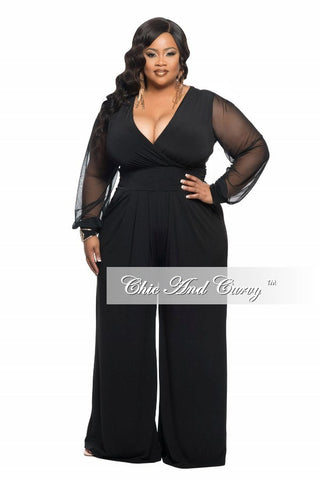 Final Sale Plus Size Jumpsuit with Sheer Long Sleeves and Wide Leg in Black
