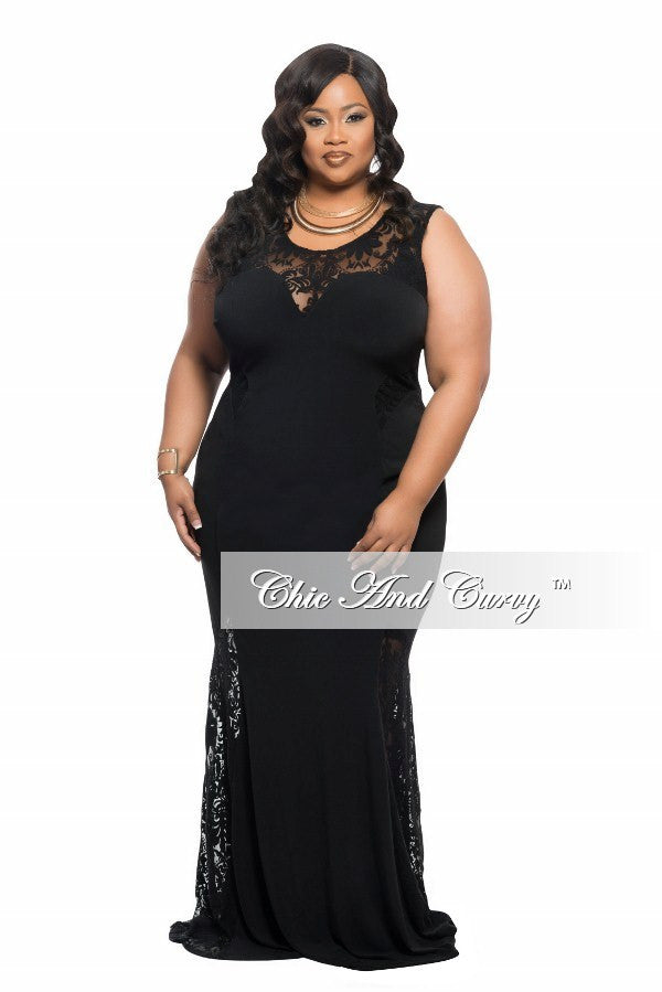 New Plus Size Gown with Lace Details in Black