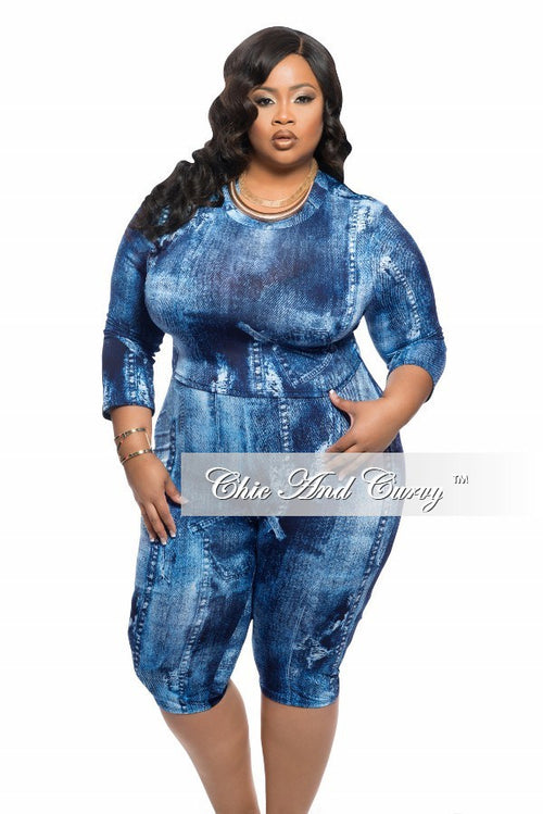 Final Sale Plus Size 2-Piece Set with Crop Top and High Waist Capri Pants in Blue Denim Print