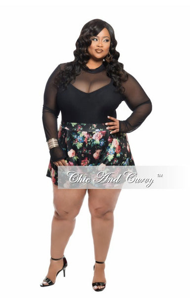 New Plus Size Romper with Sheer Top and Floral Bottom in Black