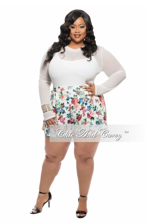 Final Sale Plus Size Romper with Sheer Top and Floral Bottom in Ivory