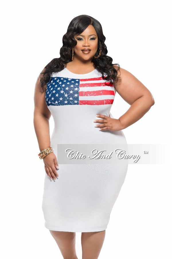 Final Sale Plus Size BodyCon Tank Dress with Flag Design in White