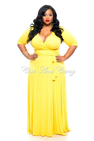 50% Off Sale - Final Sale Plus Size Long Wrap Dress w/ Short Sleeve and Tie in Yellow