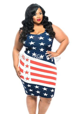 Final Sale Plus Size BodyCon Tank Dress w/ Stars and Stripes (Seasonal Item Final Sale)