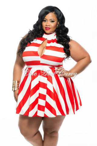 New Plus Size Skater Dress with Cutout and Stripe Print in Red and White