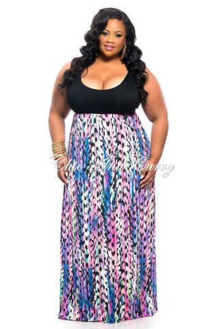 50% Off Sale - Final Sale Plus Size Maxi Dress Black Top with Blue, Pink, and Purple Bottom