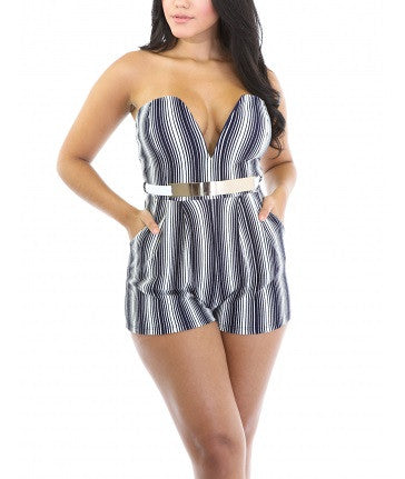 50% Off Sale - Final Sale Plus Size Strapless Plunging Romper w/ Belt and Side Pockets in Navy Blue and White