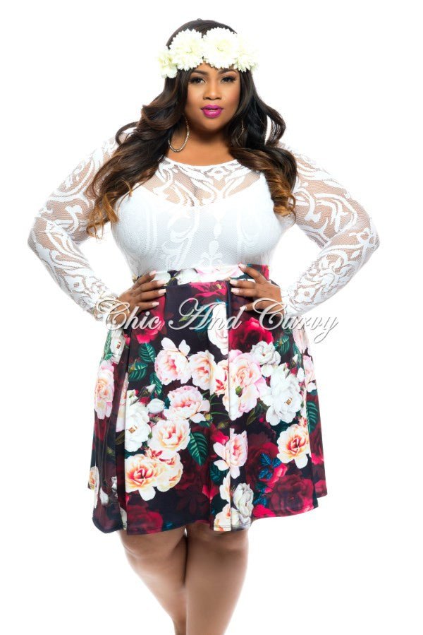 New Plus Size Dart Pleated Skirt in Floral Pastel/Black