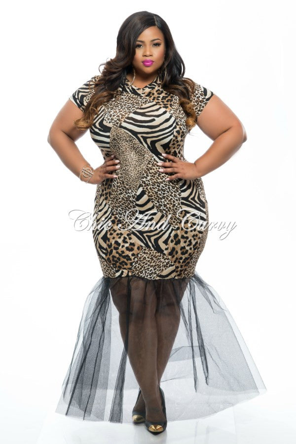 New Plus Size BodyCon Dress with Attached Tulle Bottom in Animal ...