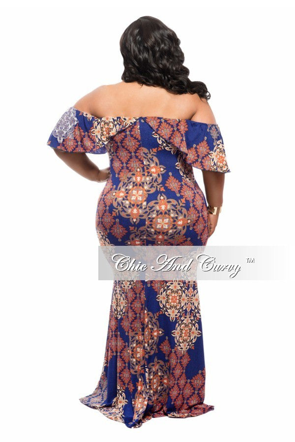 New Plus Size BodyCon Long Dress with Off the Shoulder Ruffle in Blue and Burnt Orange