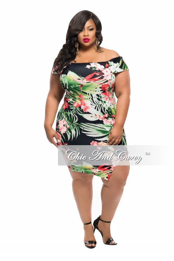 Final Sale Plus Size BodyCon Off the Shoulder Dress with Slit in Black, Green and Coral