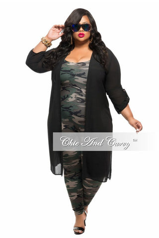 New Plus Size Long Sheer Cover up with Slits in Black