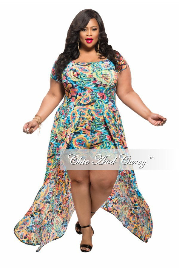 Plus Size Romper with Attached Long Skirt in Turquoise, Pink, and Yellow