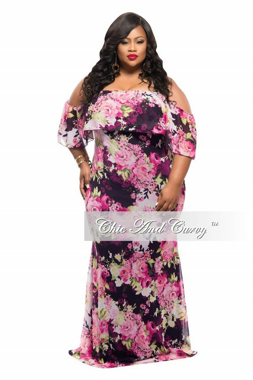 Final Sale Plus Size BodyCon Long Dress with Off the Shoulder Ruffle in Purple, Pink, and Black