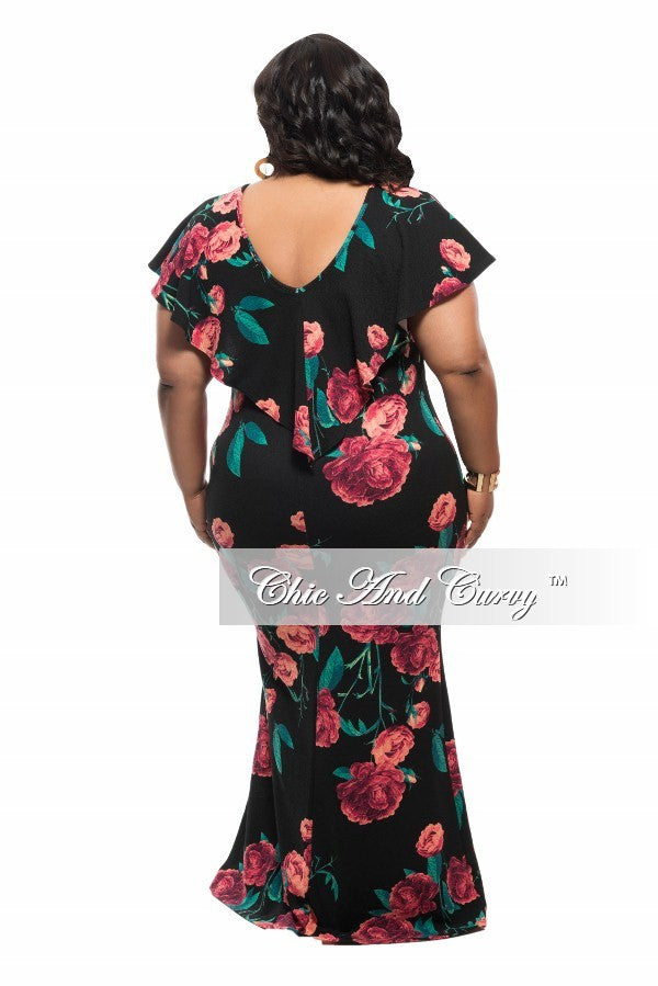 New Plus Size BodyCon Dress with Top Ruffle in Black and Red Floral Print