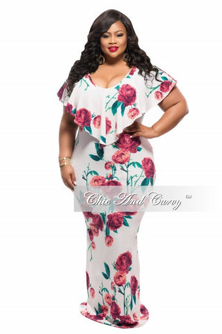Final Sale Plus Size BodyCon Dress with Top Ruffle in Ivory, Red and Green Floral Print