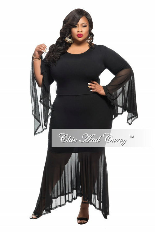 New Plus Size 2-Piece Top and Skirt Set with Sheer Bell Sleeves in Black