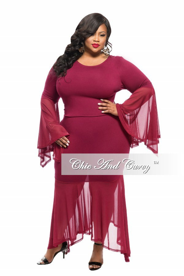 New Plus Size 2-Piece Top and Skirt Set with Sheer Bell Sleeves in Burgundy