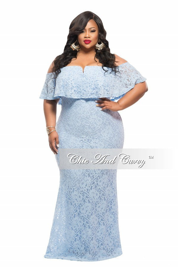 New Plus Size BodyCon Long Off the Shoulder Lace Dress in Blue