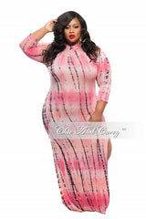 Final Sale Plus Size BodyCon Dress with Back Cutout and Double Slit in Coral and Navy Blue Tie Dye