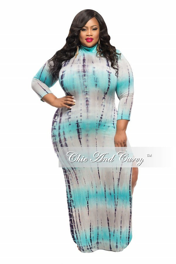 New Plus Size BodyCon Dress with Back Cutout and Double Slit in Aqua Blue Tie Dye
