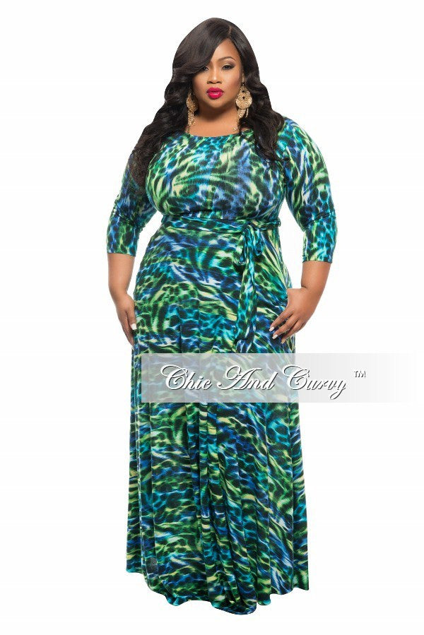 New Plus Size Long Dress with 3/4 Sleeve and Tie in Green, Royal Blue, and Black