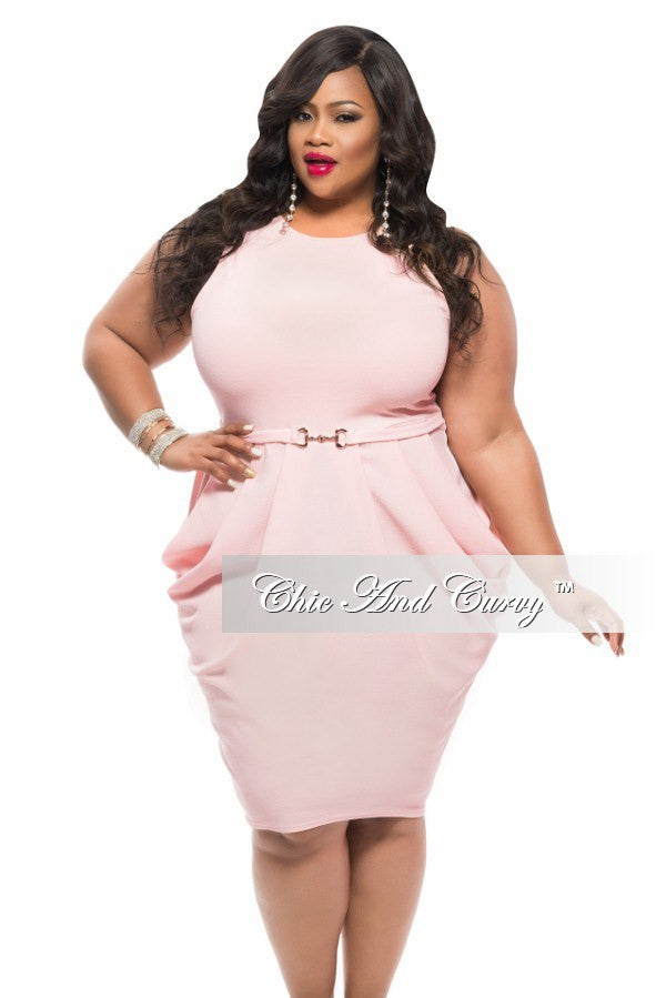 New Plus Size Sleeveless BodyCon Dress with Attached Belt in Peach