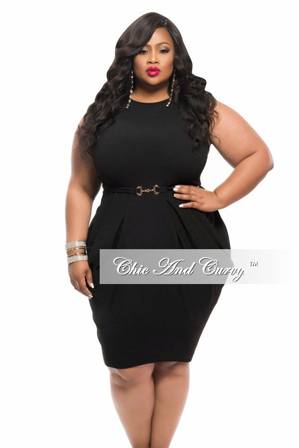 New Plus Size Sleeveless BodyCon Dress with Attached Belt in Black