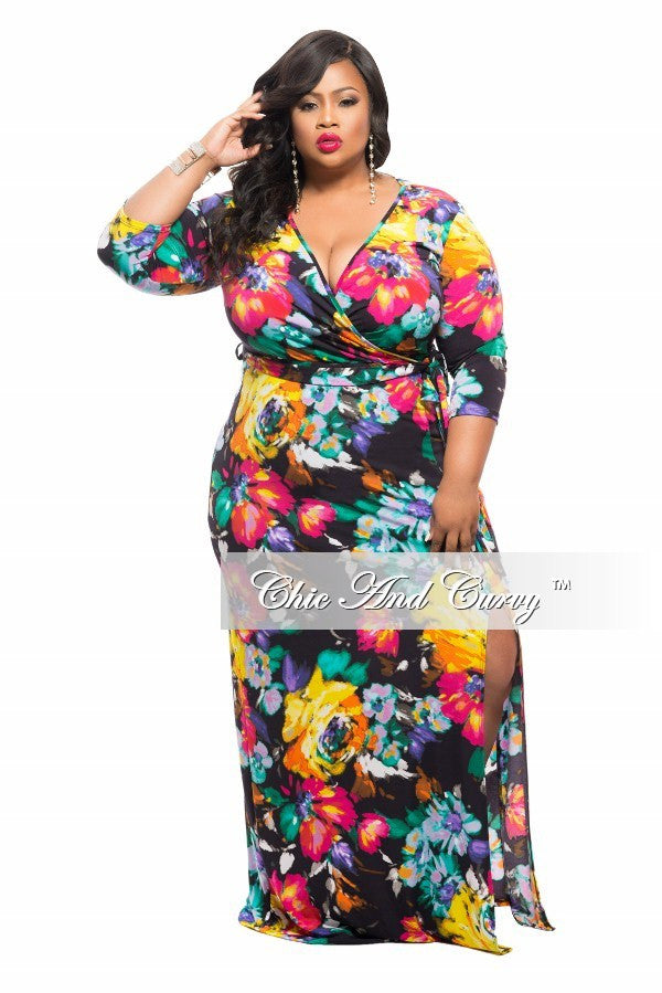 New Plus Size Long Dress with Side Split in Black Floral Print