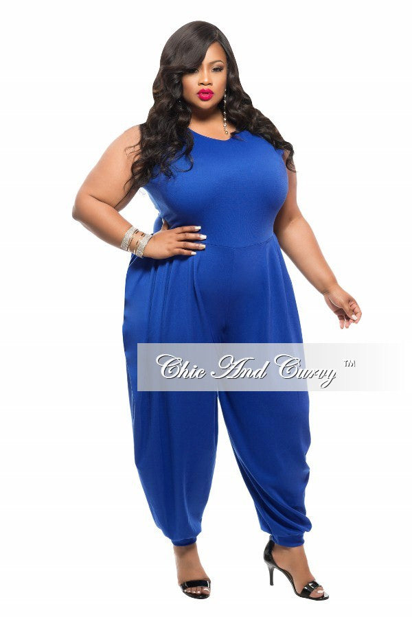 New Plus Size Jumpsuit with Harem Pants in Royal Blue