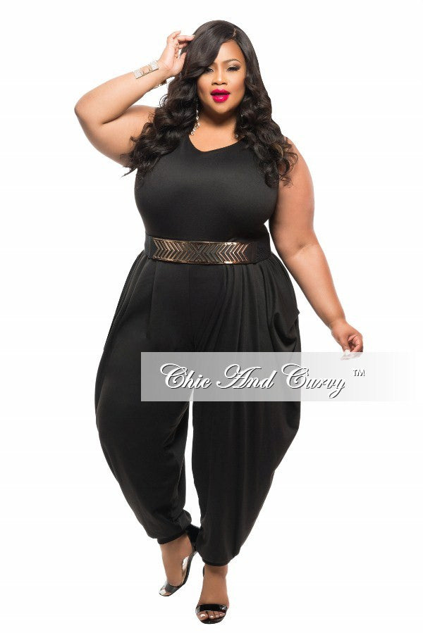 new plus size jumpsuit with harem pants in black – chic and curvy