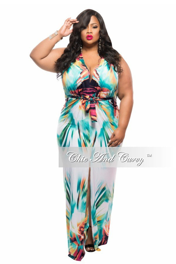 New Plus Size Long Dress with Front Slit and Tie in White, Teal Green, and Yellow Print