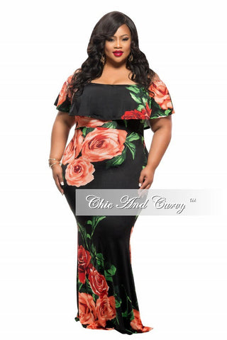 50% Off Sale - Final Sale Plus Size BodyCon Long Dress with Off the Shoulder Ruffle and Slit in Black Red Green