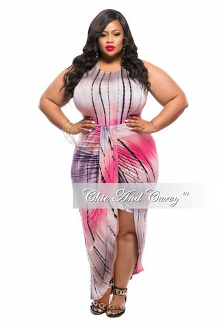 New Plus Size BodyCon 2-Piece Top and Skirt Set in Pink and Brown Tie Dye Print