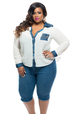 FINAL SALE Plus Size Top with Button Front and Denim Trim and Open Back in Ivory