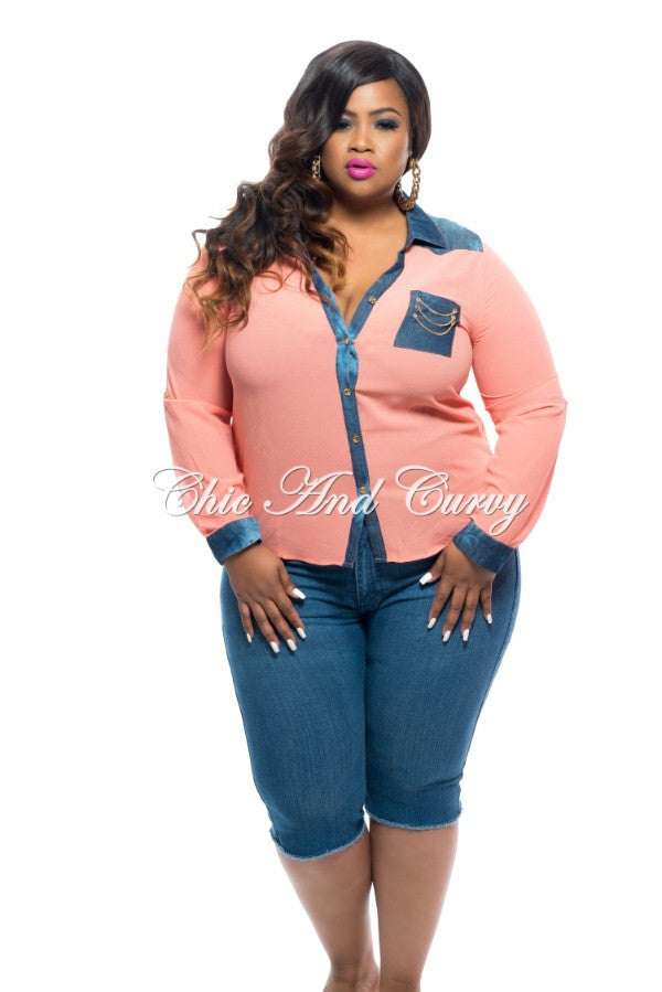 New Plus Size Top with Button Front and Denim Trim and Open Back in Peach