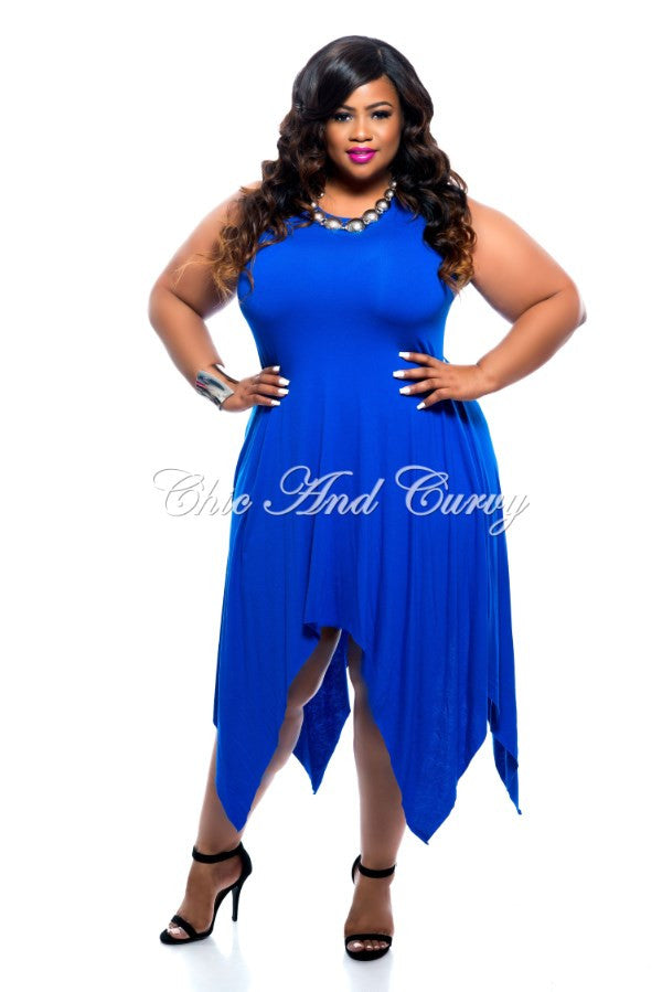 New Plus Size Handkerchief Dress in Royal Blue