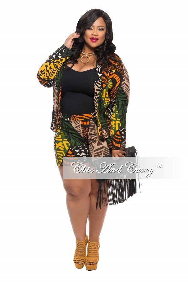 Final Sale Plus Size 2-Piece Set with Shirt and Shorts in Tribal ...